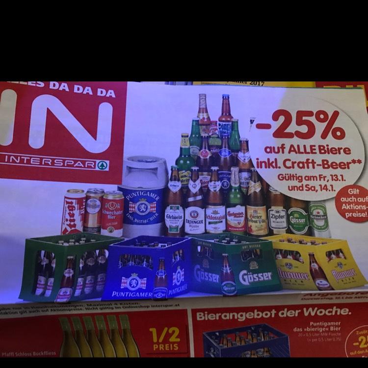 Interspar -25% auf Alle Biere am 13.1 und 14.1