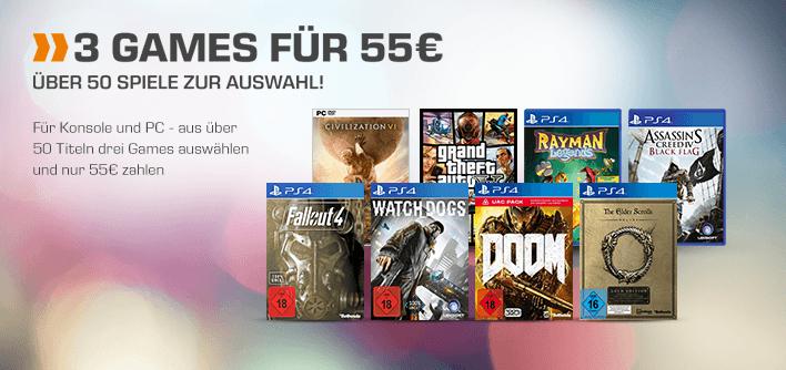 GTA V und Mafia 3 (PS4 / XBO) sowie Total War: Warhammer Limited Edition jetzt ebenfalls 3x für 55€ möglich - 3x Civilization VI (oder 3 verschiedene Spiele) für 54,99€ [Saturn-DE]