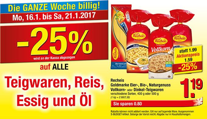[Maximarkt] -25% auf alle Teigwaren, Reis, Essig und Öl