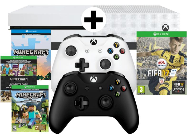 Media Markt: Xbox One S Bundle 500GB weiß inkl. 2 Controller + Minecraft (DLC) + FIFA 17 für 245€