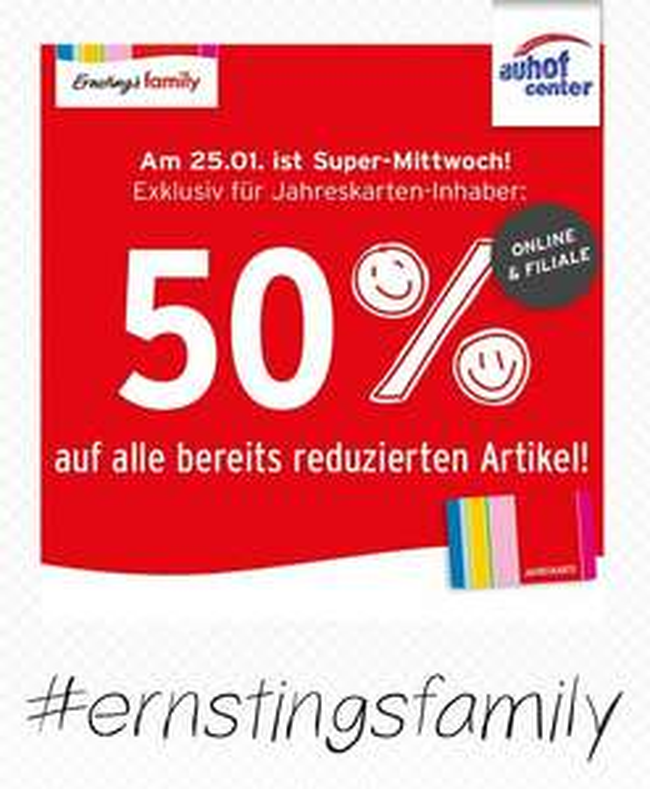 Ernstings Family Super Mittwoch für Jahreskarten-Inhaber