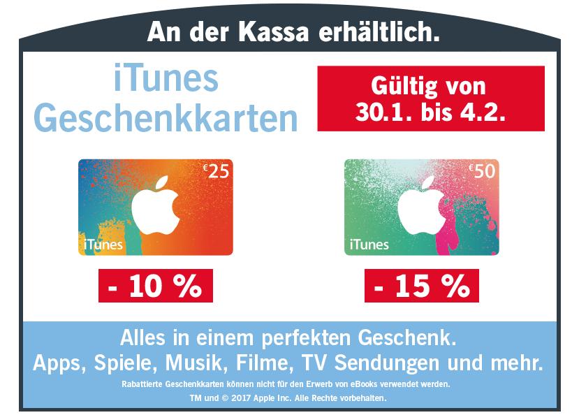 Lidl/Post: 10-15% Rabatt auf iTunes Karten (25 € um 22,50 € / 50 € um 42,50 €) - 30.1. bis 4.2.2017