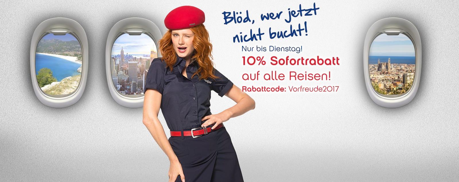 Nur noch heute -10 % Rabatt auf alle Reisen bei airberlin holidays