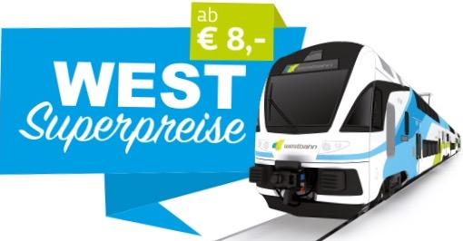Westbahn - Bahntickets ab 8 € - bis 15.3.2017