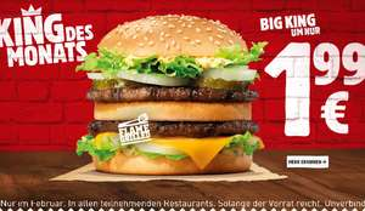 King des Monats Big King für 1.99€