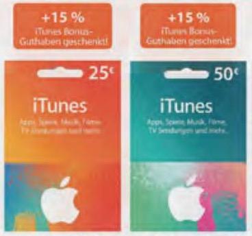 Müller: 13% Rabatt auf iTunes Karten (28,75 € um 25 € / 57,50 € um 50 €)