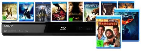 Blu-ray Player Sony S 363B + 10 Blu-rays für 199,97€ bei Amazon