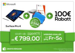 0815.at: 100€ Rabatt auf Surface Pro 4 Bundles - u.a. mit: Surface Pro 4 128/i5/4GB + Office 365 + Pen Tip Kit + Type Cover für 899€