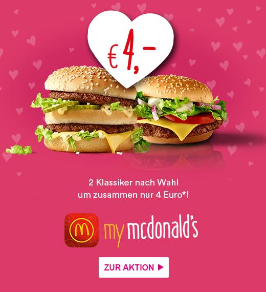 McDonalds: 2 Klassiker für nur 4€ - nur bis zum 16. Februar
