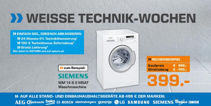 Weiße Technik Wochen bei Saturn - € 499,- gratis Lieferung & € 100,- Sofortabzug & 0% Finanzierung
