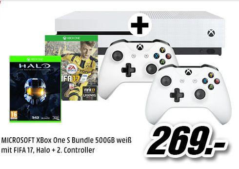 [Mediamarkt] MICROSOFT XBox One S Bundle 500GB weiß mit FIFA 17 (Download-Code)+ Halo: The Master Chief Collection (Datenträger) + 2.Controller für 259,-€