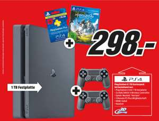 Sony PlayStation 4 SLIM Konsole 1TB + Horizon Zero Dawn + 2 Controller + 3 Monate PS Plus