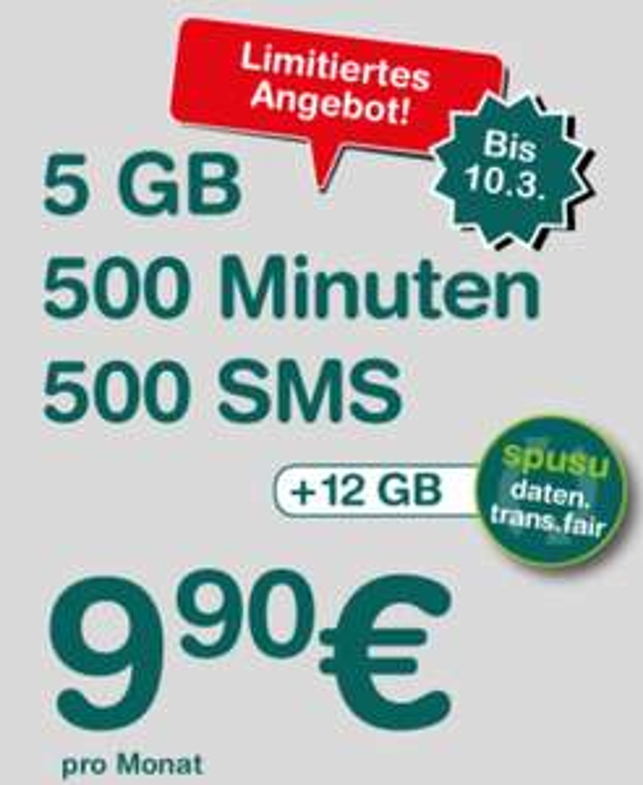 Spusu 6000 - 500 Min, 500 SMS, 5000 MB Daten um 9,90 €