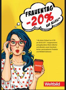 Frauentag bei Weltbild - 20% Rabatt ab einem Einkauf von 50€- nur am 8. März - u.a mit: Nintendo Switch für 271,20€!