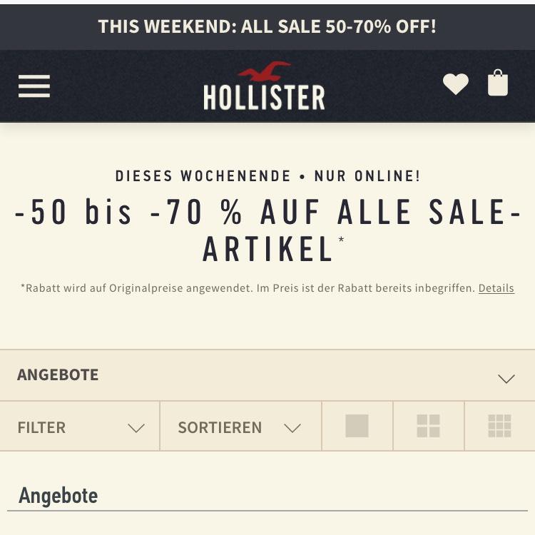 Hollister dieses Wochenende nur online 50-70% Rabatt auf die Sale Artikel