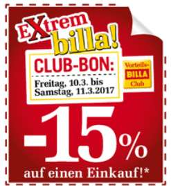 -15% auf alles bei Billa am 10.+11. März 2017