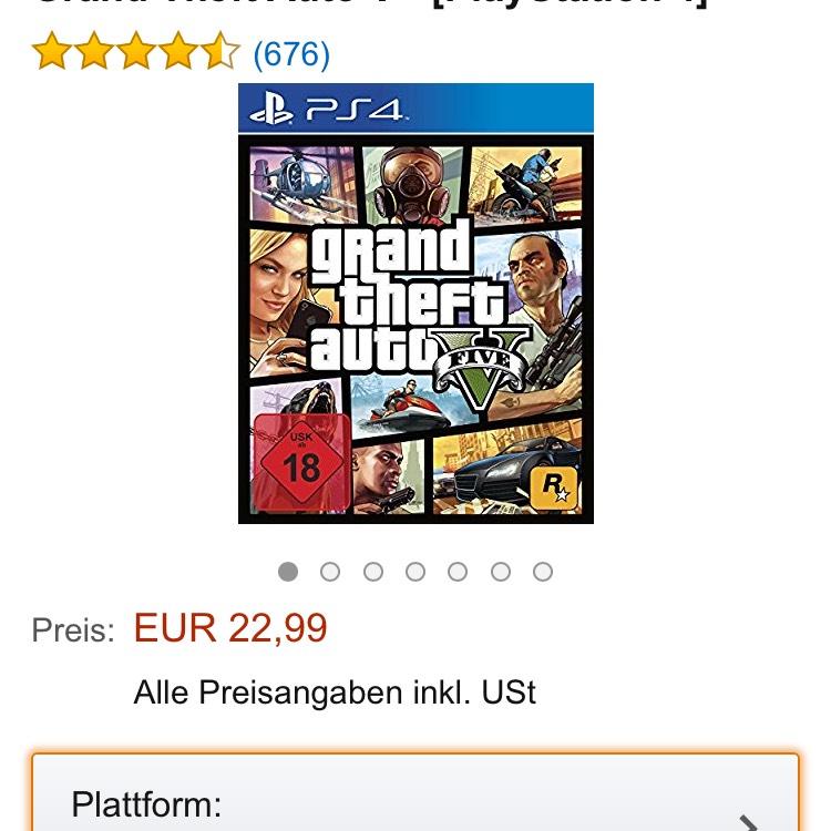 [amazon.de] GTA V für PS 4 bzw. Xbox One