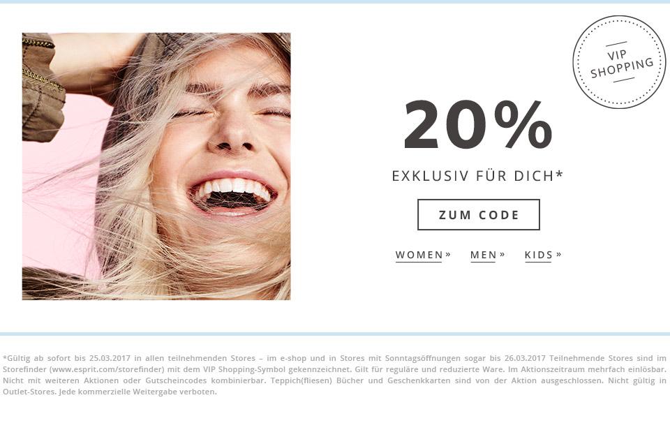 ESPRIT VIP SHOPPING - 20 % Rabatt auf alles (auch auf Sale)
