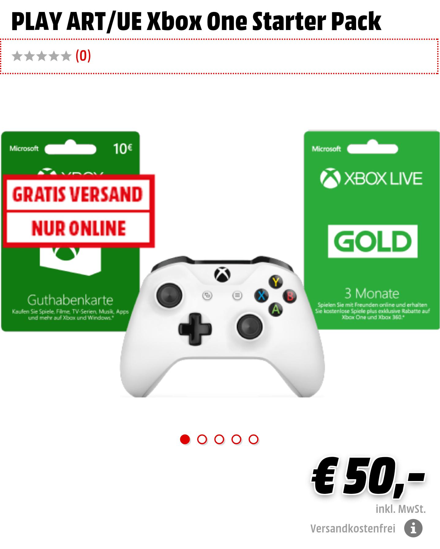 XBOX ONE Starter Pack bestehend aus XBOX ONE Controller + 3 Monate XBOX Live Gold  + 10€ XBOX Guthabenkarte
