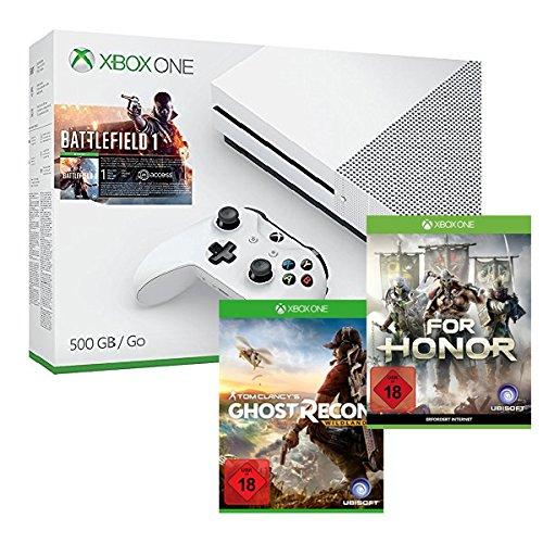 Amazon: Xbox One S 500 GB Konsole - Battlefield 1 Bundle + Tom Clancy's: Ghost Recon Wildlands + For Honor für 299,99€
