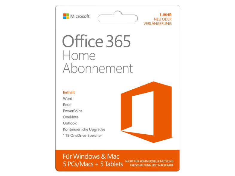 Microsoft Office 365 Home 5 User um € 50,- statt 81,48