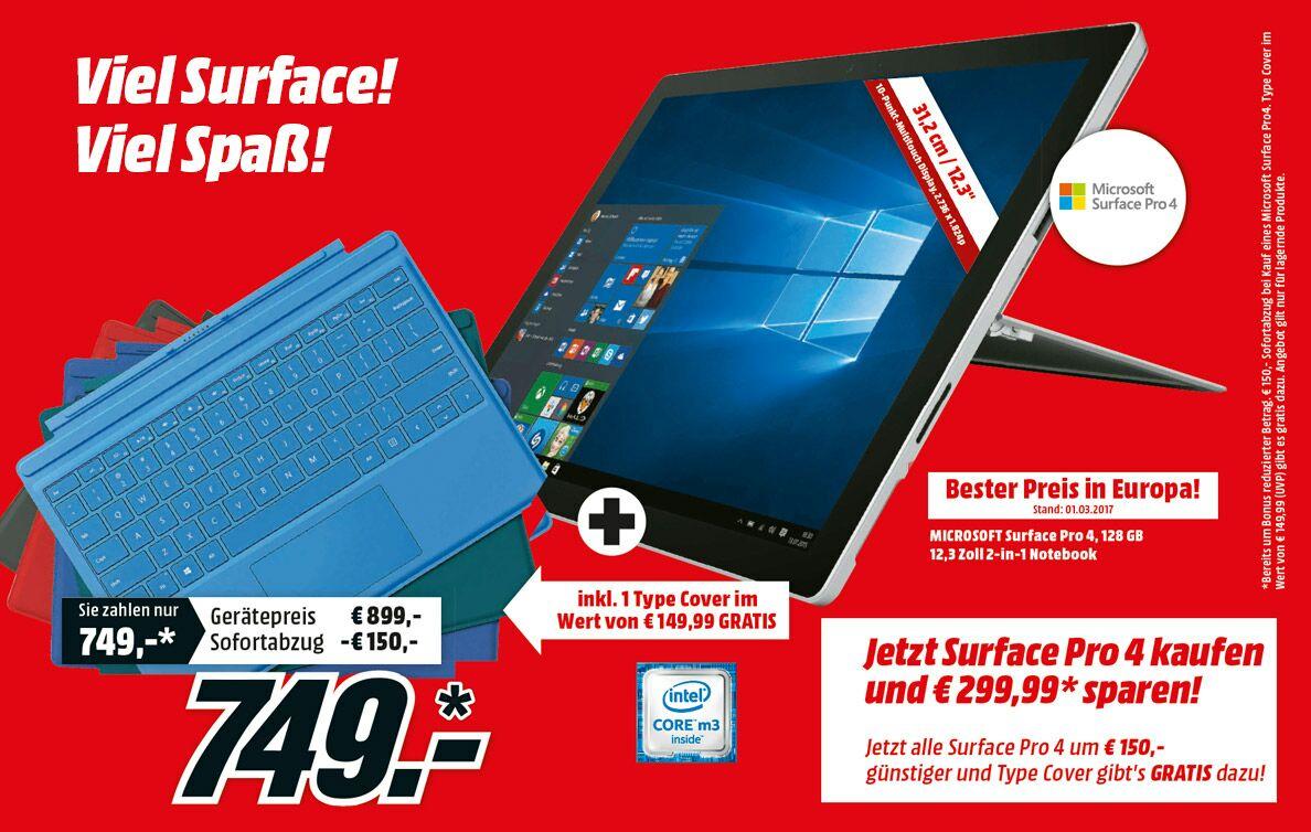 [mediamarkt.at] Alle Surface Pro 4  - 150€ & Typecover (-149,99) geschenkt