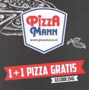 Pizza Mann: 1+1 Pizza Gratis (6,90€ Rabatt) - bis zum 30. April gültig