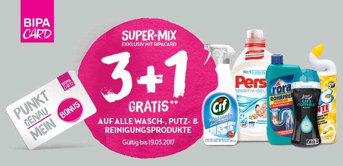 BIPA 3+1 Gratis für viele Wasch-, Putz- und Reinigungsartikel inkl. Clever