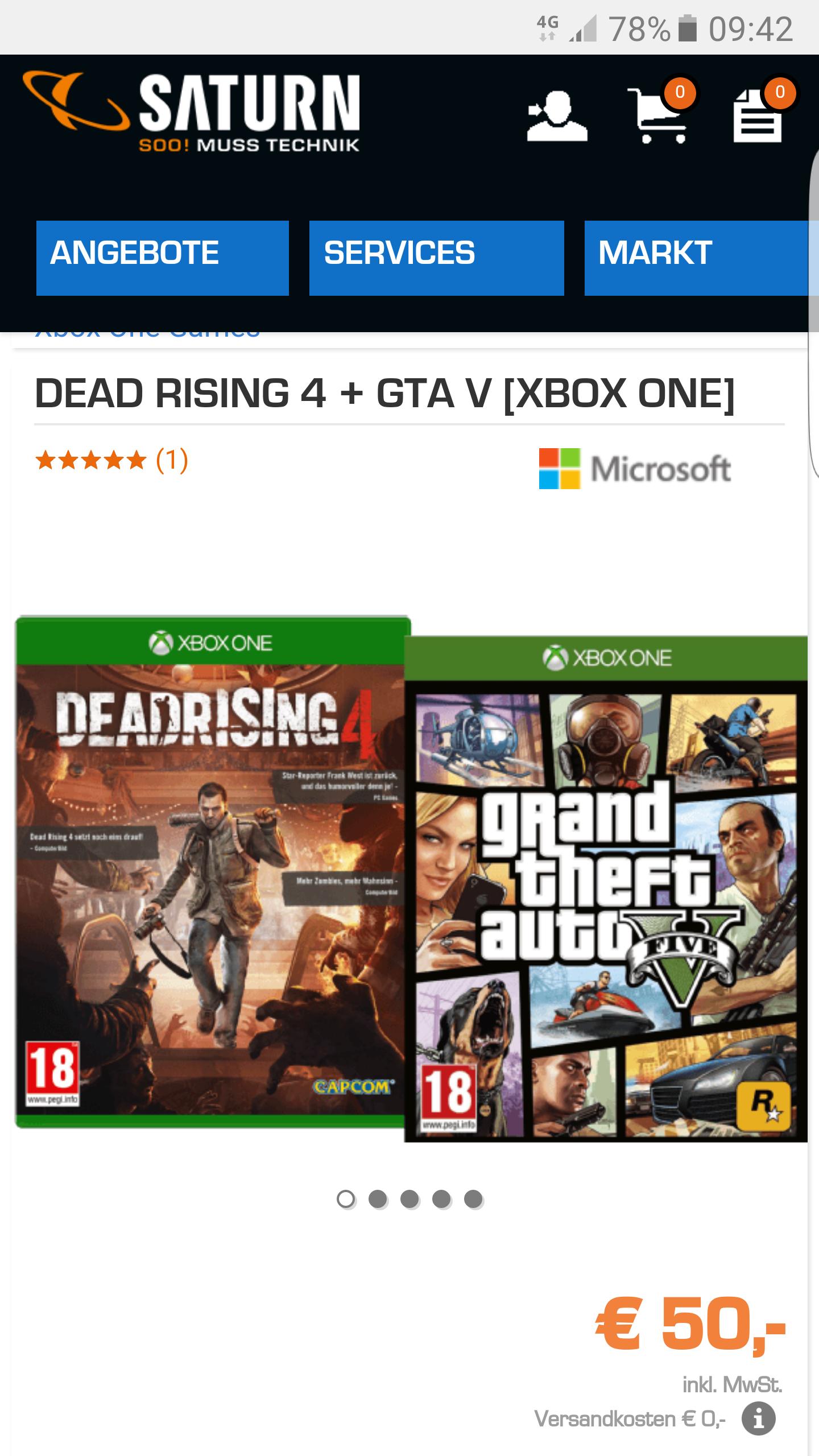 DEAD RISING 4 + GTA V [XBOX ONE] für 50 Euro inkl.versand