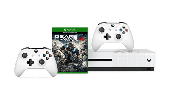 Microsoft Store UK: Xbox One S 500GB + Gears of War 4 oder Fifa 17 oder Battlefield 1 + 2. Controller für 253,44€