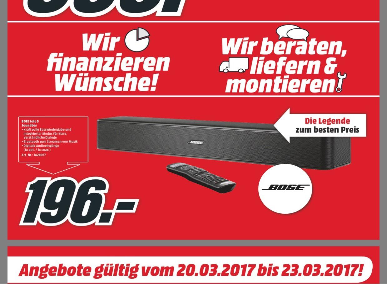 [mediamarkt] nur bei MM Floridsdorf ab 7 Uhr BOSE Solo 5 Soundbar 196,00€ !! Ab 20.3 NEUERÖFFNUNGSANGEBOT