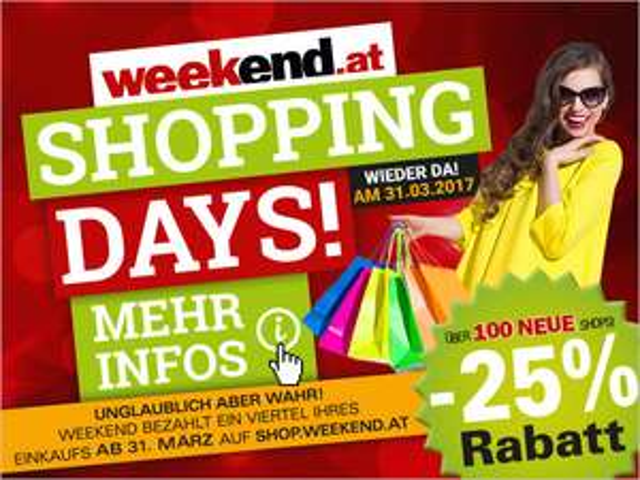 (TOP) Weekend.at -25% auf Einkaufsgutscheine / ab 31.3. 12 Uhr