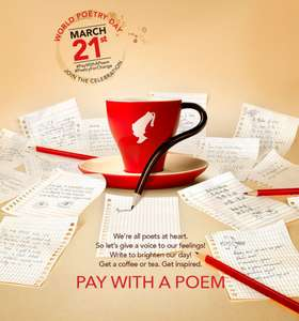 Pay with a Poem - gratis Kaffee gegen Gedicht