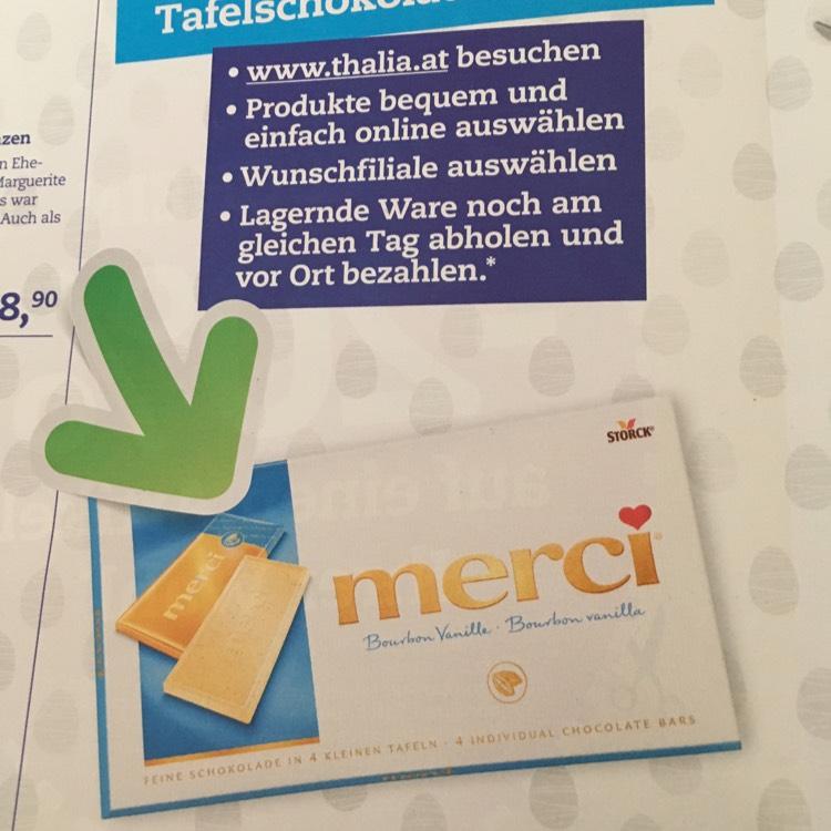 Gratis Merci Schokoladentafel bei Thalia-Filialabholung