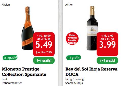 """Spar - """"Saufen mit 50% Rabatt"""" - 1+1 Gratis auf Rotwein + Prosecco"""