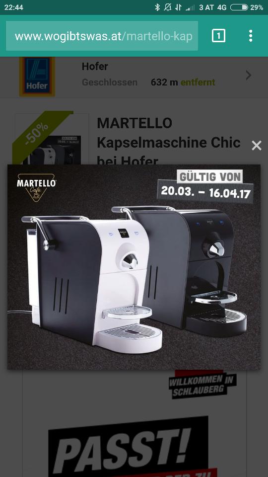 """MARTELLO Kapselmaschine """"Chic"""" bis 16.4."""