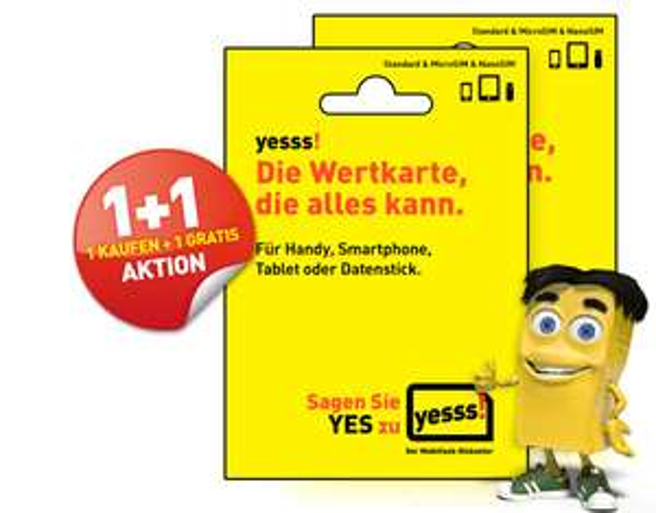 yesss! Starterset Wertkarte 1+ 1 gratis!