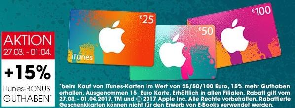 Libro: iTunes Karten mit 15% mehr Guthaben - bis 1.4.2017