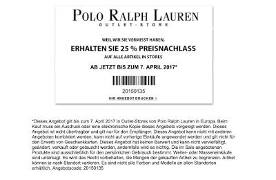25% off im Ralph Lauren Outlet Store
