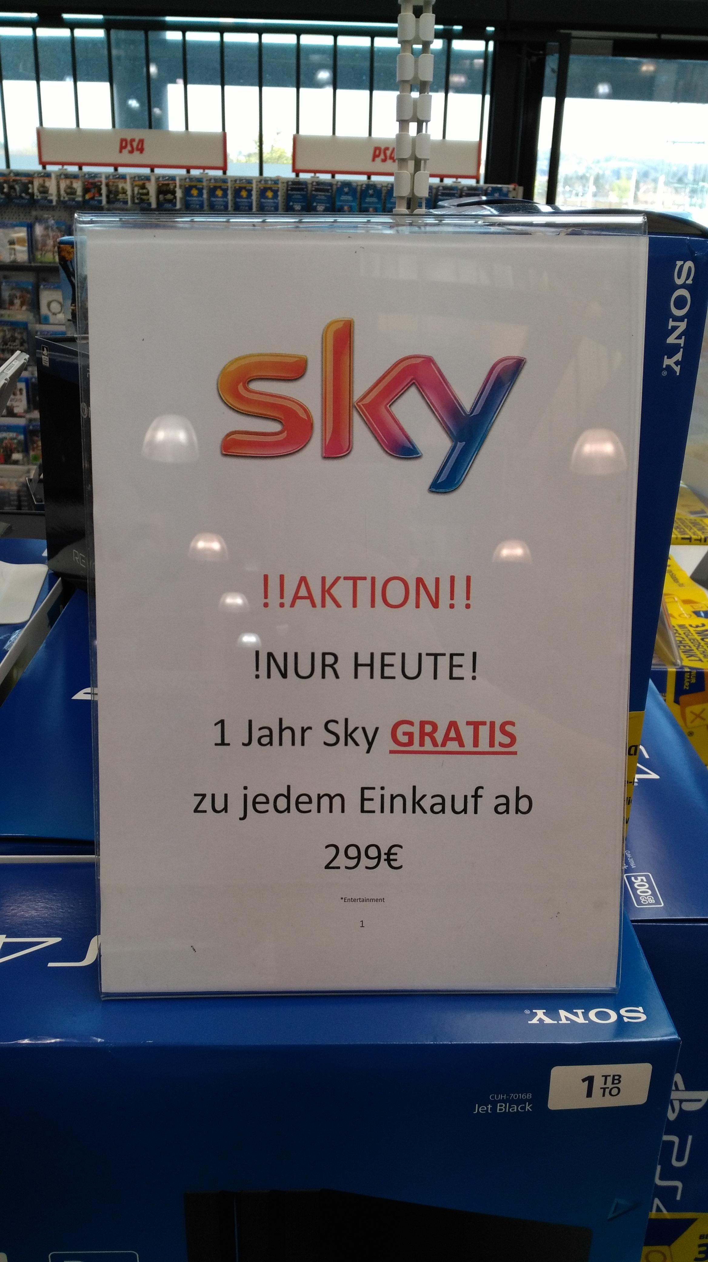 1 Jahr Sky Entertainment gratis ab 299 € Einkaufswert im Mediamarkt MURPARK GRAZ