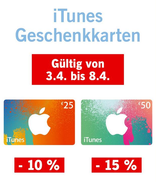 Lidl: iTunes Karten bis zu 15% billiger - ab 3.4 - bis 8.4.2017