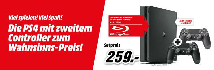 Sony PlayStation 4 Slim Konsole 500 GB (CUH-2002) + 2 Dualshock 4 Controller schwarz