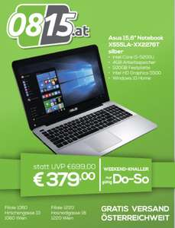 "[0815.at] ASUS X555LA-XX2276T silber 15,6"" Notebook , Core i5, 500GB um nur 379€"