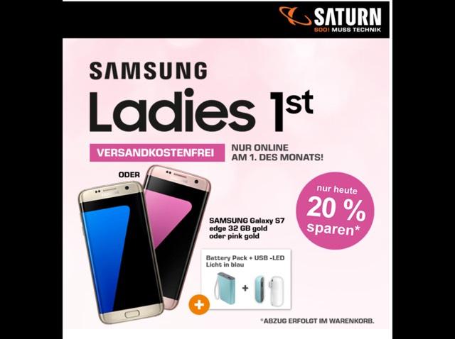 Schnell sein! Nur noch heute das Galaxy S7 Edge mit Powerbank und Led Licht!