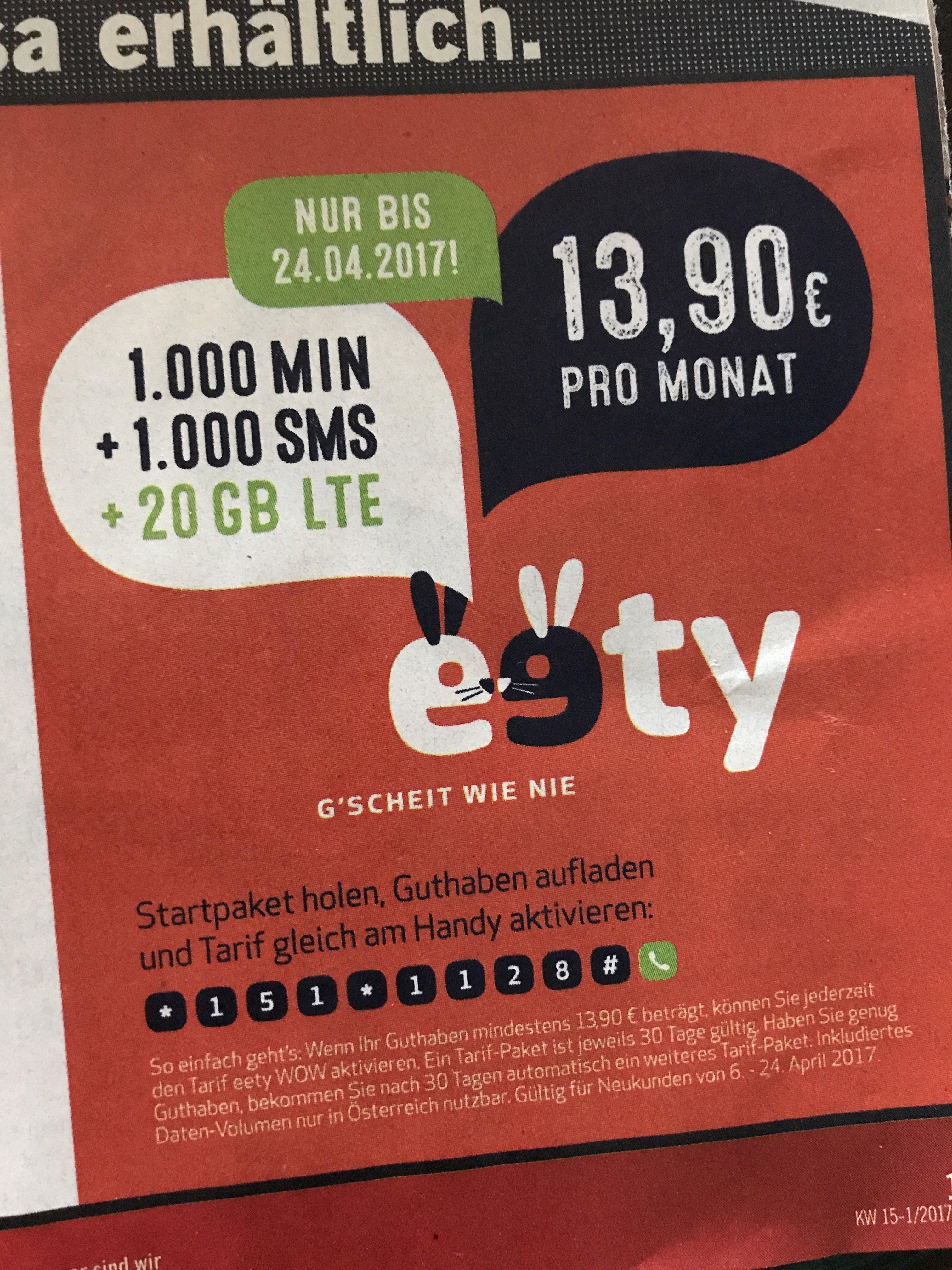 eety 1000min/1000sms und 20GB (in Netz von 3)