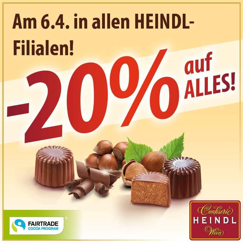 Heindl Confiserie-20% nur am 6.4.2017