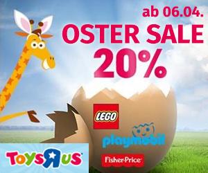 ToysRus: 20% Rabatt auf alle LEGO Artikel - nur bis zum 14. April