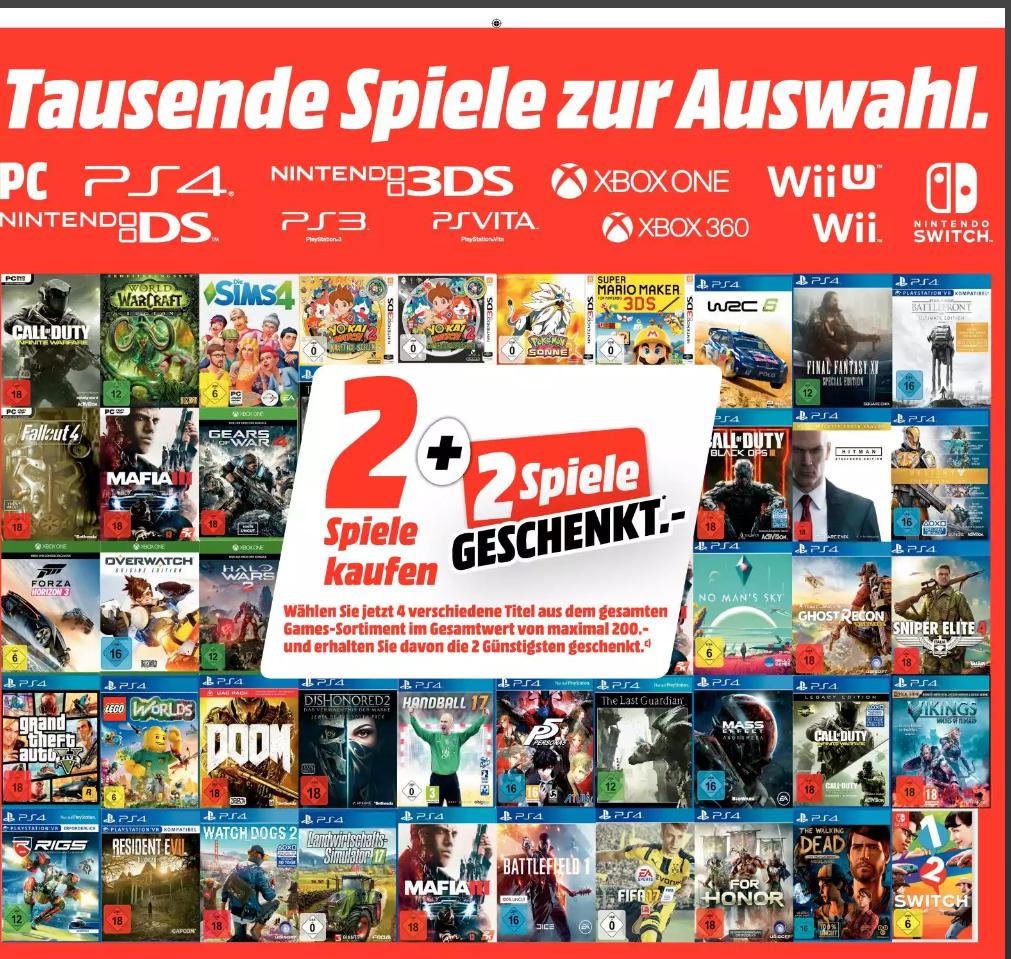 [Mediamarkt Deutschland]  Gameaktion-4 Spiele kaufen und die 2 Günstigsten umsonst bekommen!