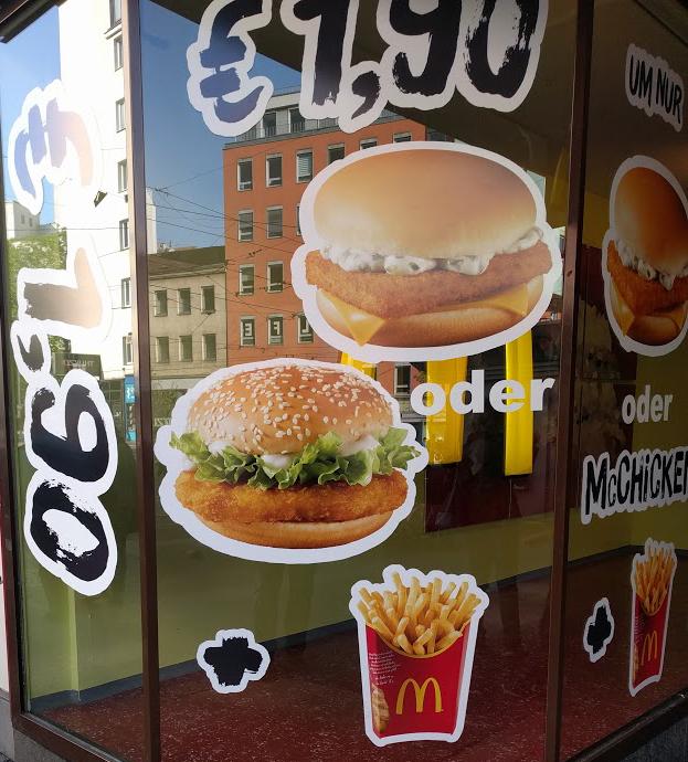 McDonalds: (Filet-o-Fish oder McChicken) + große Pommes um 1,90€