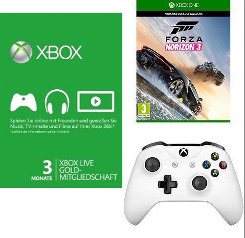 Libro: Xbox One Controller (schwarz od. weiß) + Forza Horizon 3 + 3 Monate Xbox Live Gold für 69,99€